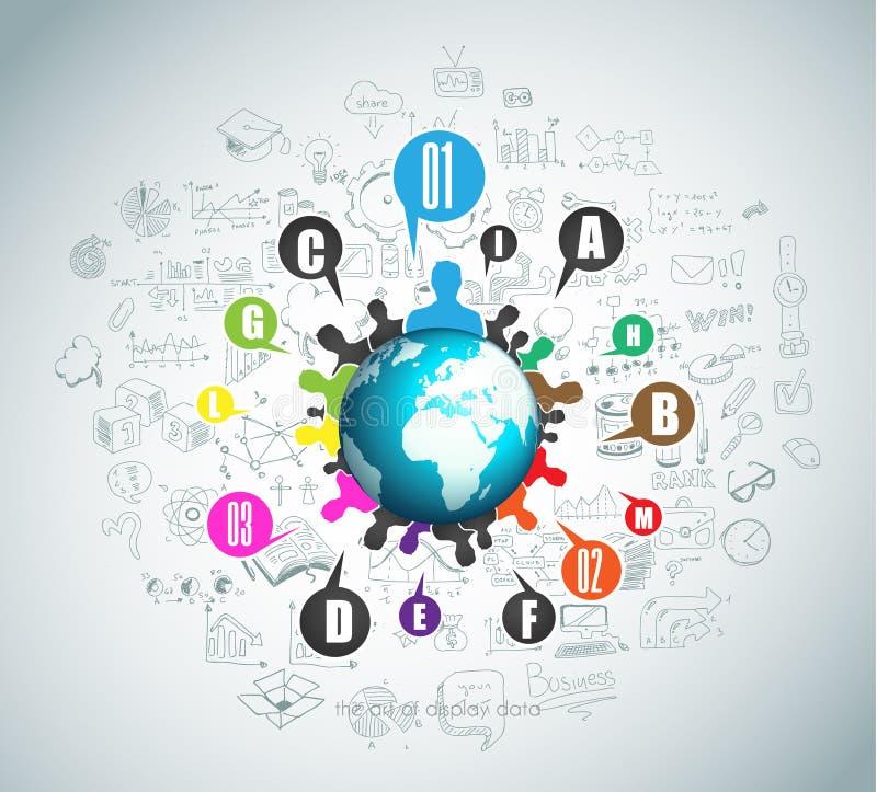 Vlak Stijlconcept voor Sociale Media, Agendaorganisatie en digitale marketing royalty-vrije illustratie