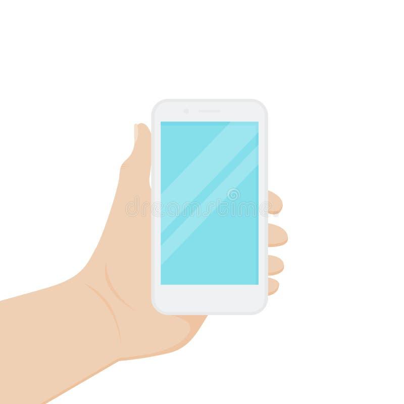 Vlak stijlontwerp, een hand die een slimme telefoon houden Vector illustratie royalty-vrije illustratie