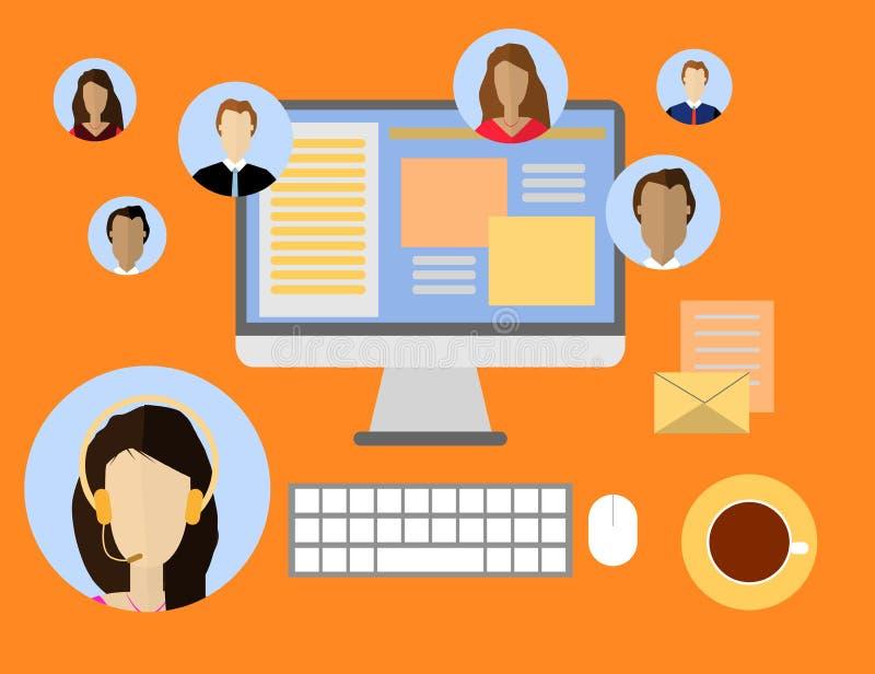 Vlak stijlontwerp voor online webinar, online onderwijs, het verre concept van de onderwijstechnologie royalty-vrije stock afbeeldingen