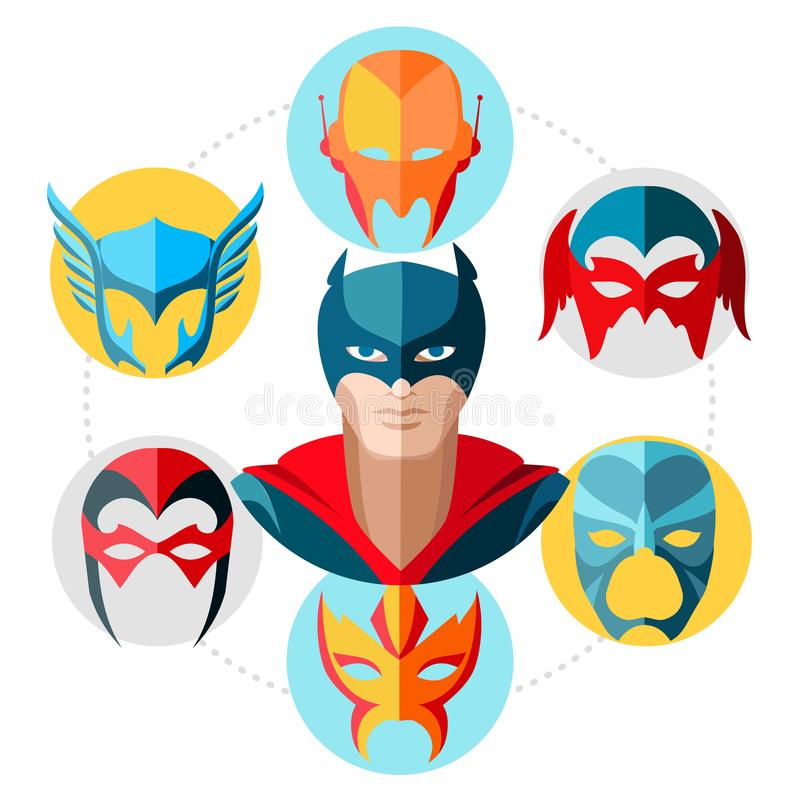 Vlak Superhero-Concept royalty-vrije illustratie