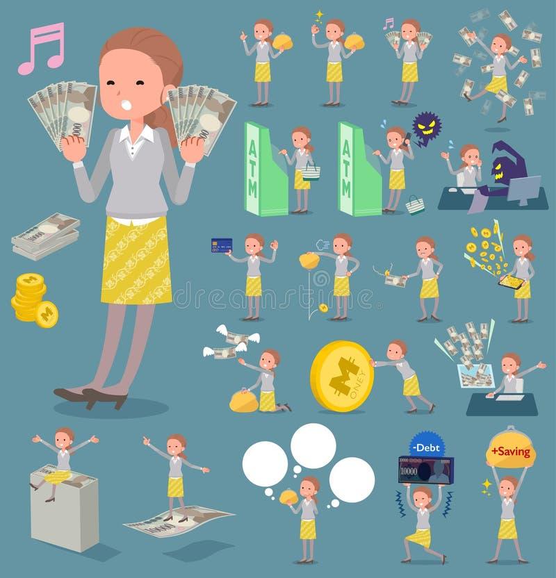 Vlak type achter women_money van het knoophaar stock illustratie
