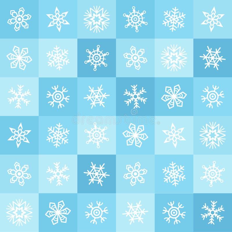 Vlak van ontwerpsneeuwvlokken en vierkanten de winter naadloos patroon royalty-vrije illustratie