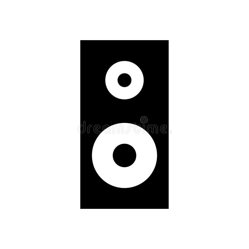 Vlak vector, Correct, audio Geïsoleerd de muziekteken van het sprekerspictogram stock illustratie