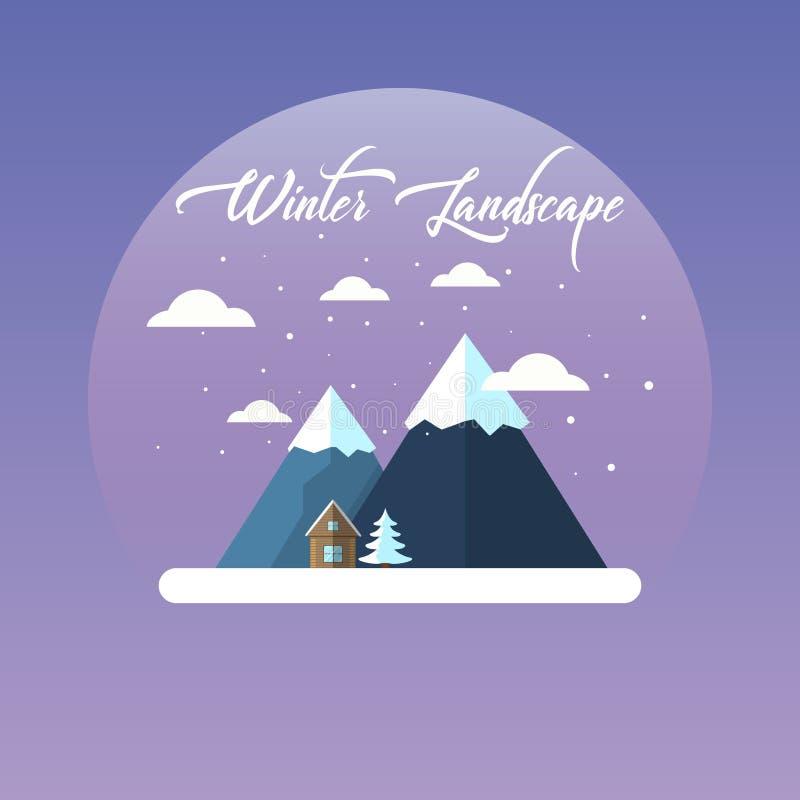 Vlak vector de winterlandschap met bergen en dalende sneeuw op een purpere achtergrond Vector illustratie vector illustratie
