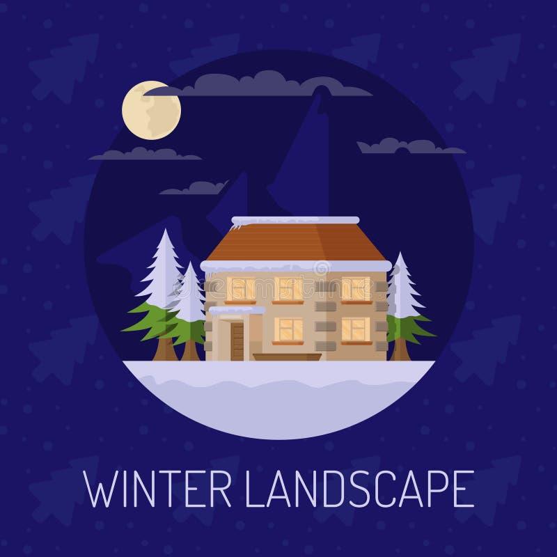 Vlak vector de winterlandschap met een huis, bergen en een dalende sneeuw op een blauwe achtergrond Vector illustratie royalty-vrije illustratie