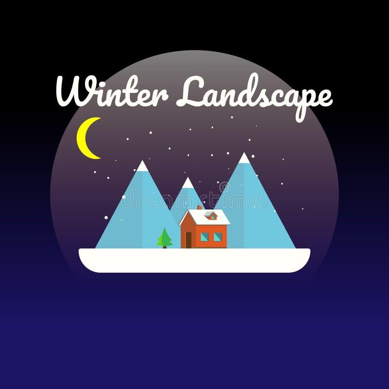 Vlak vector de winterlandschap met een huis, bergen en een dalende sneeuw op een blauwe achtergrond Vector illustratie stock illustratie