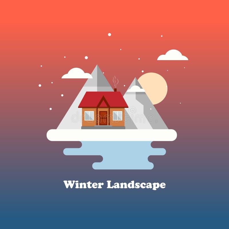 Vlak vector de winterlandschap met een huis, bergen en een dalende sneeuw op een rode achtergrond Vector illustratie stock illustratie