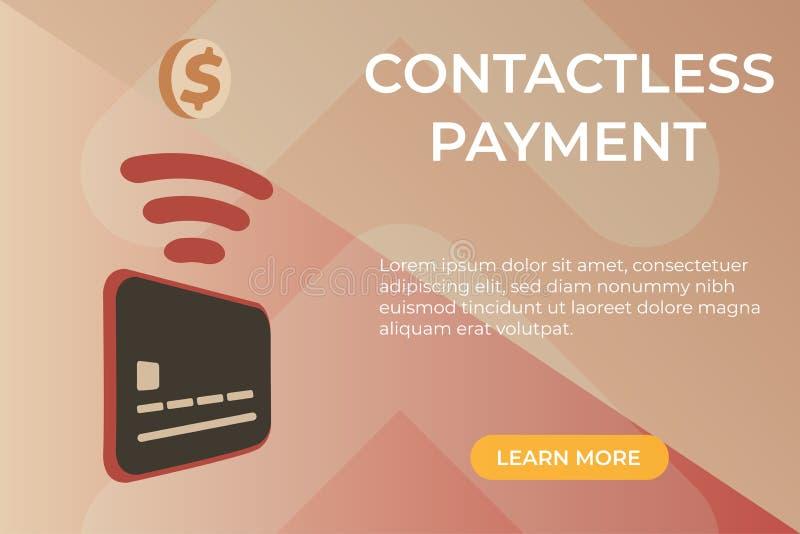 Vlak vectorconcept betalingspagina zonder contact royalty-vrije illustratie