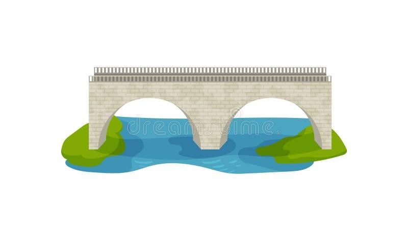 Vlak vectorontwerp van baksteenbrug Grote boogvoetgangersbrug Gang over de rivier Bouw voor vervoer stock illustratie
