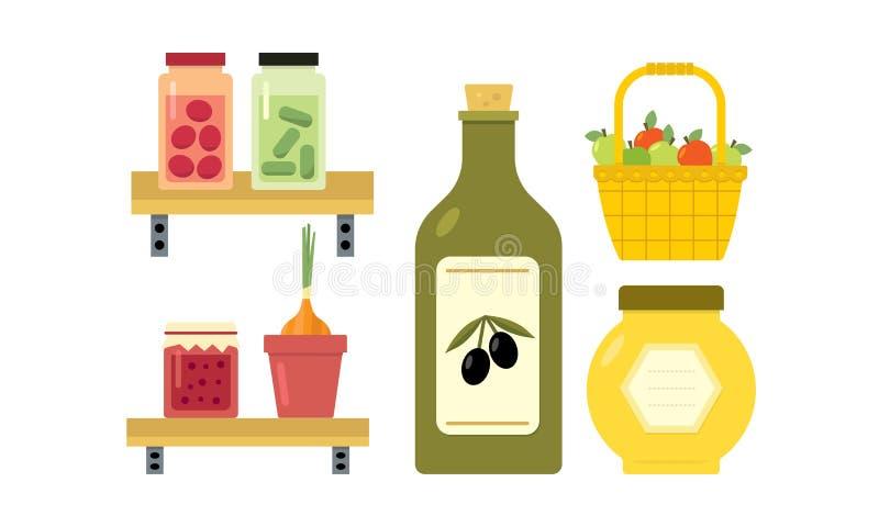 Vlak vectorontwerp van mand met appelen, ingelegde komkommers en tomaten, kruik jam en honing, fles olijfolie royalty-vrije illustratie