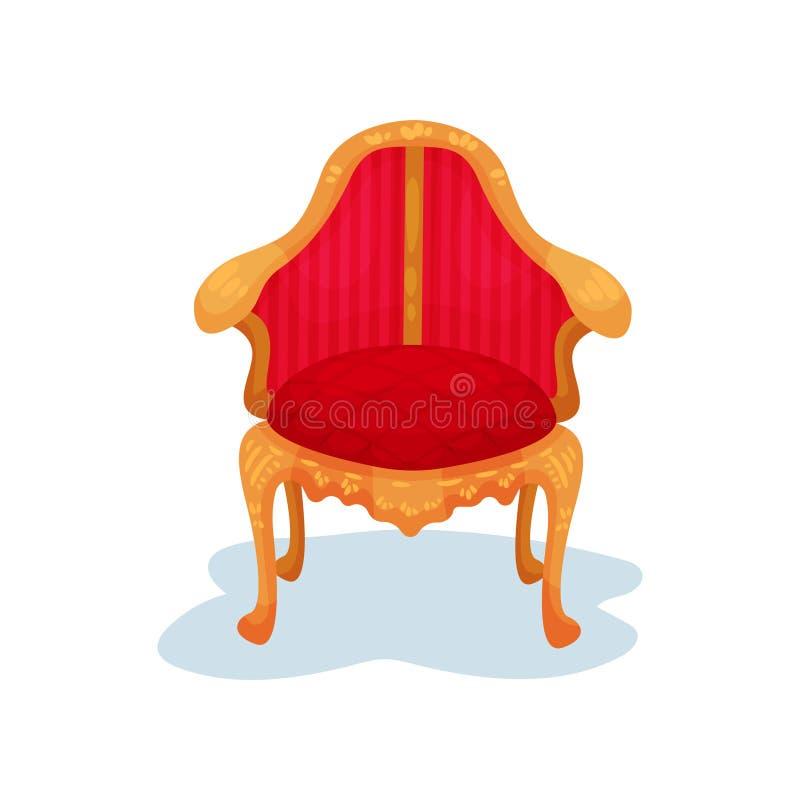 Vlak vectorpictogram van antieke houten stoel met heldere rode fluweelversiering Luxe koninklijk meubilair Museumtentoongesteld v royalty-vrije illustratie