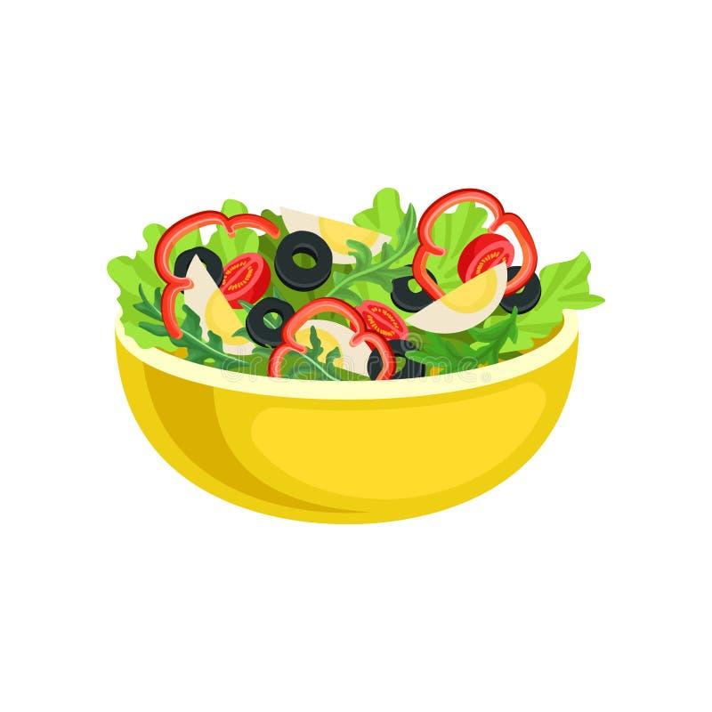 Vlak vectorpictogram van gele kom met smakelijke salade Smakelijke schotel van gekookte eieren en verse groenten Element voor vector illustratie