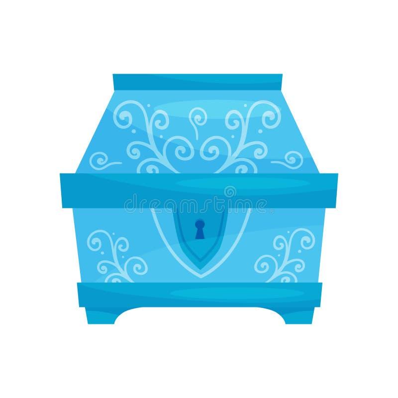 Vlak vectorpictogram van gesloten heldere blauwe borst met ornamenten Kleine kist voor juwelen Opslagdoos royalty-vrije illustratie