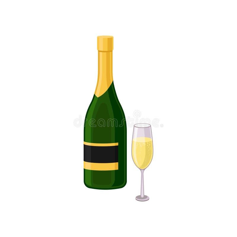 Vlak vectorpictogram van glas en fles champagne Vakantiedrank Alcoholische drank Element voor promobanner of affiche stock illustratie