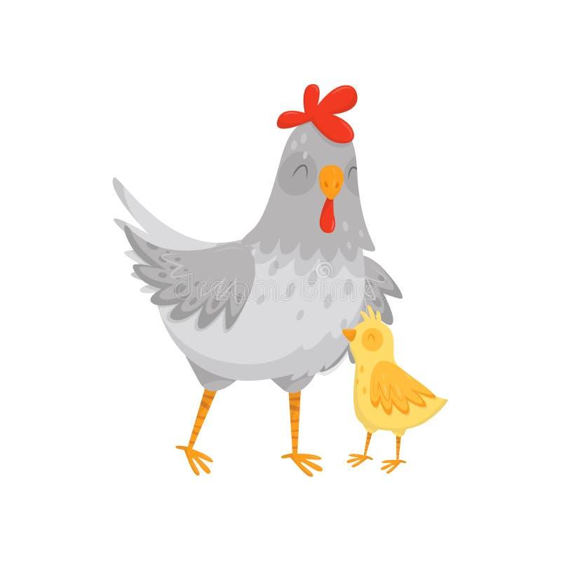 Vlak vectorpictogram van grijze moederkip met haar weinig geel kuiken Binnenlandse vogel Element voor affiche of prentbriefkaar royalty-vrije illustratie