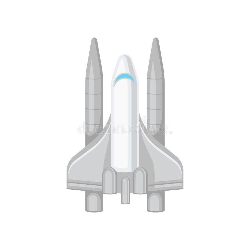 Vlak vectorpictogram van groot ruimteveer Grijs ruimtevaartuig met grote turbines Moderne het vliegen technologie royalty-vrije illustratie