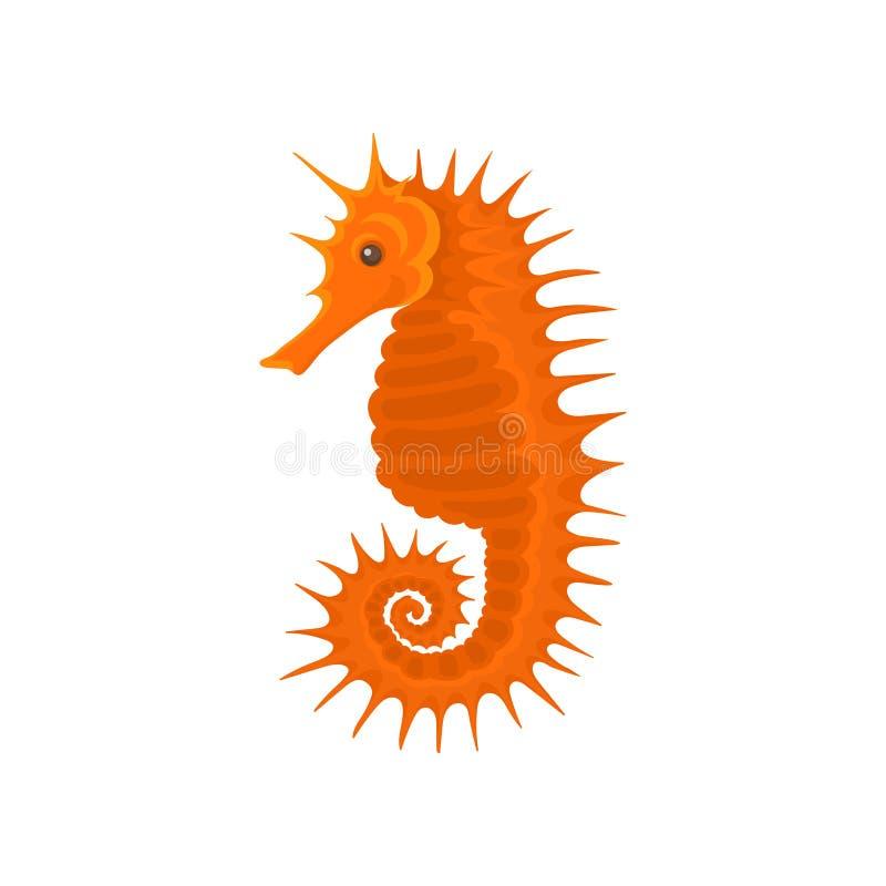 Vlak vectorpictogram van heldere sinaasappel seahorse Klein overzees dier Marien schepsel met lange snuit en gekrulde staart vector illustratie