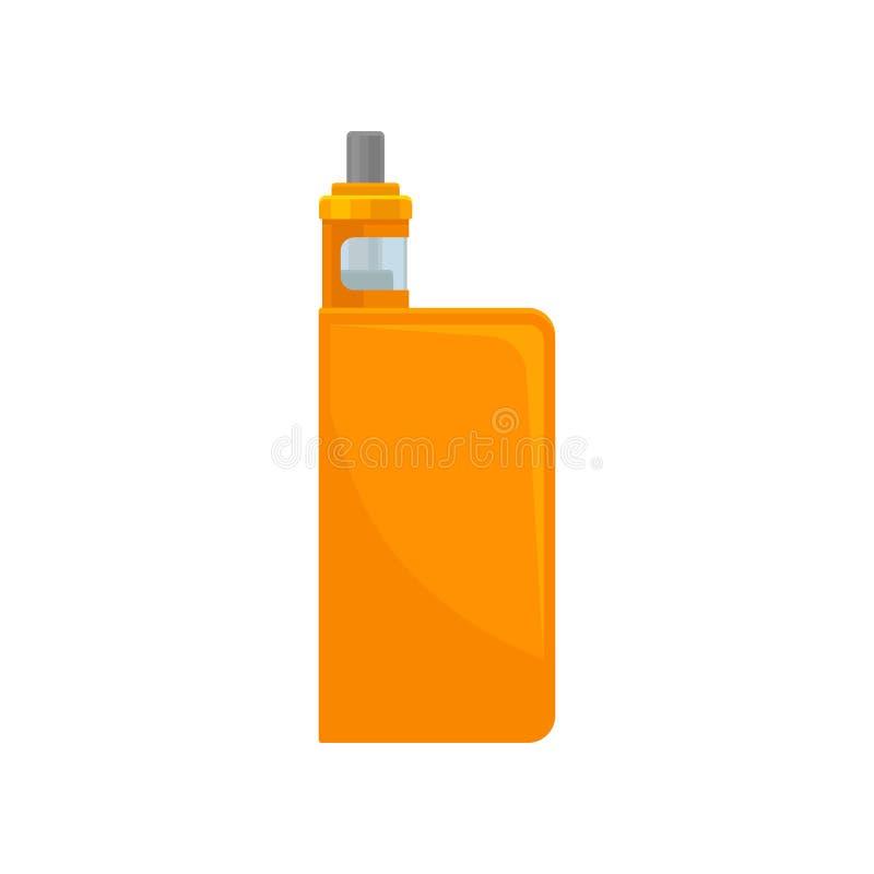 Vlak vectorpictogram van heldere sinaasappel vape Elektronische sigaret Verstuiver met transparante glastank voor vloeistof royalty-vrije illustratie