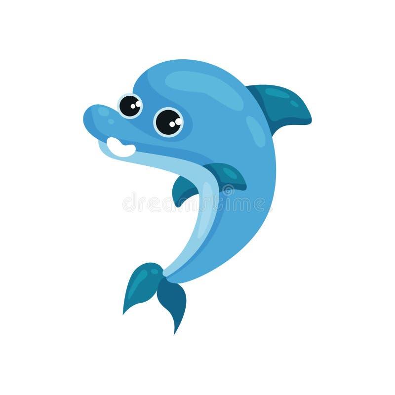 Vlak vectorpictogram van het glimlachen van blauwe dolfijn Marien dier met glanzende ogen Overzees het levensthema Element voor k stock illustratie