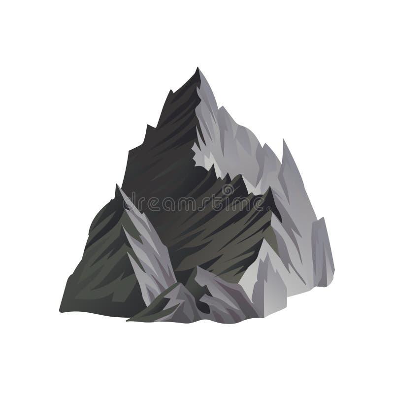 Vlak vectorpictogram van hoge grijze berg met scherpe pieken, lichten en schaduwen Element voor landschapsachtergrond van mobiel vector illustratie