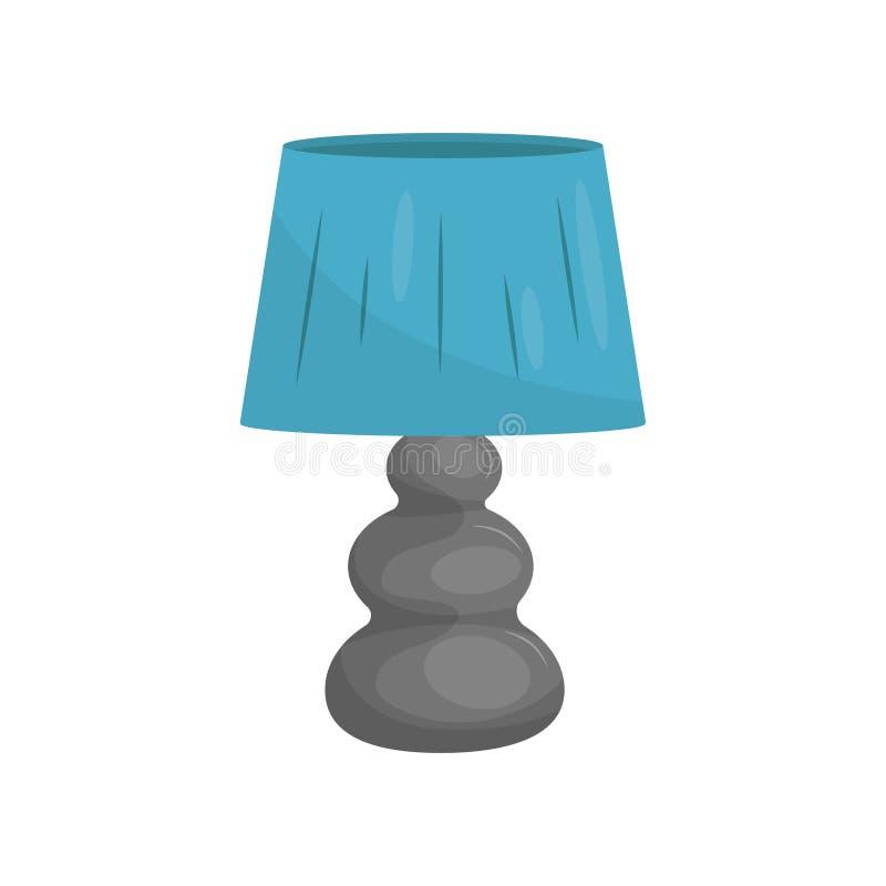 Vlak vectorpictogram van kleine bedlamp met grijze tribune en blauwe lampekap Het moderne element van het huisdecor stock illustratie