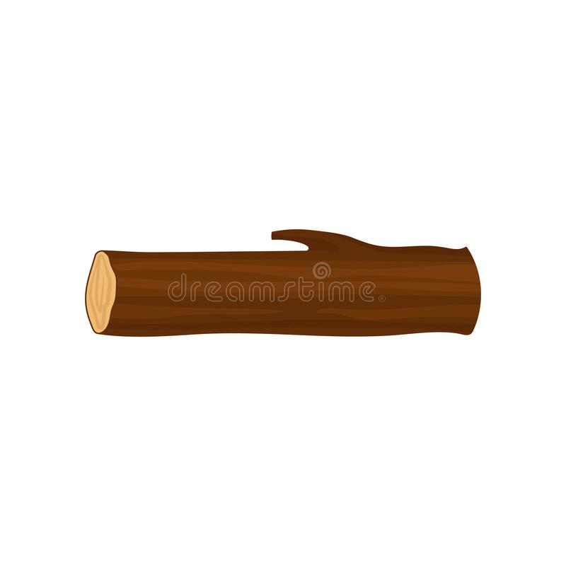 Vlak vectorpictogram van lang rond houten logboek Een deel van boomboomstam Boselement Brandhoutproductie royalty-vrije stock fotografie
