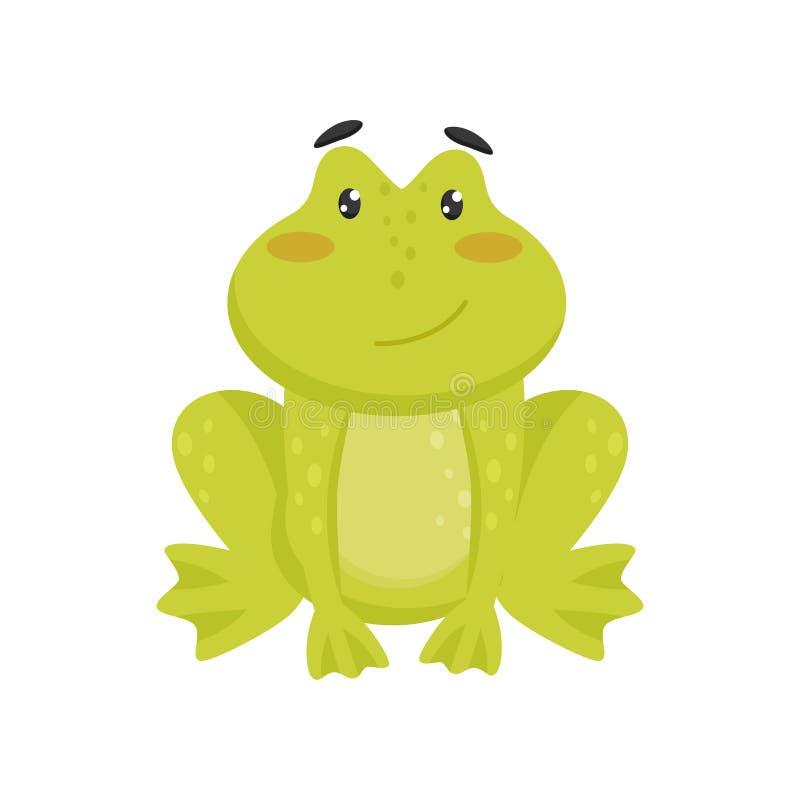 Vlak vectorpictogram van leuke het glimlachen kikker Beeldverhaalkarakter van grappige groene pad met roze wangen en glanzende og vector illustratie