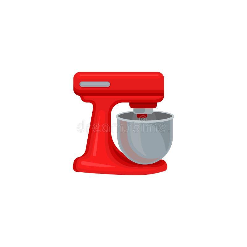 Vlak vectorpictogram van rode deegmixer met roestvrij staalkom Bakkerijmateriaal Het moderne Toestel van de Keuken vector illustratie