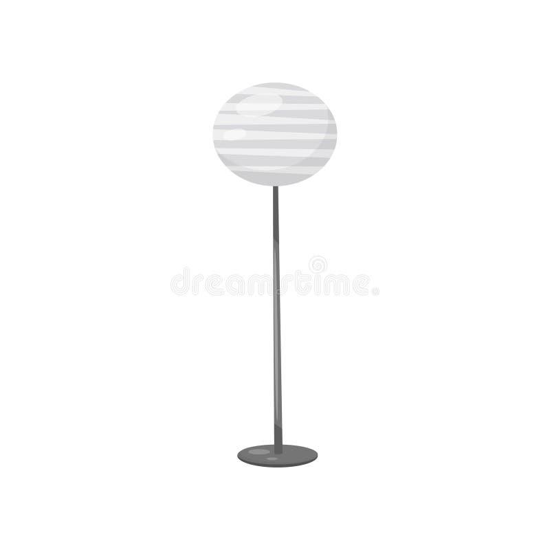 Vlak vectorpictogram van staande lamp met lang metaalbeen en grijze ronde lampekap Modern element van huisdecor stock illustratie