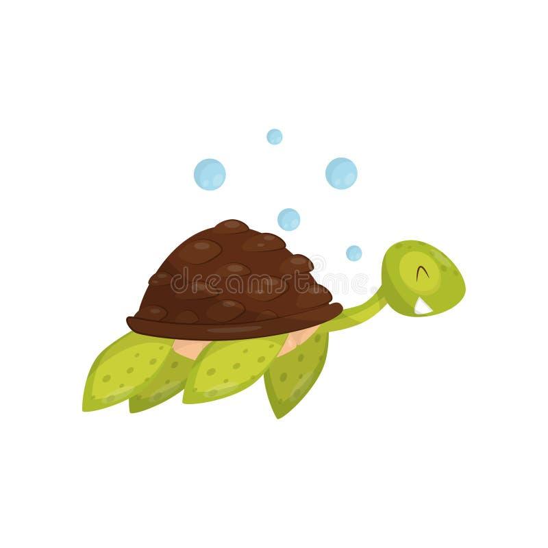 Vlak vectorpictogram van zwemmende schildpad Marien dier Groene schildpad met gelukkige snuit Element voor kinderenboek of stock illustratie