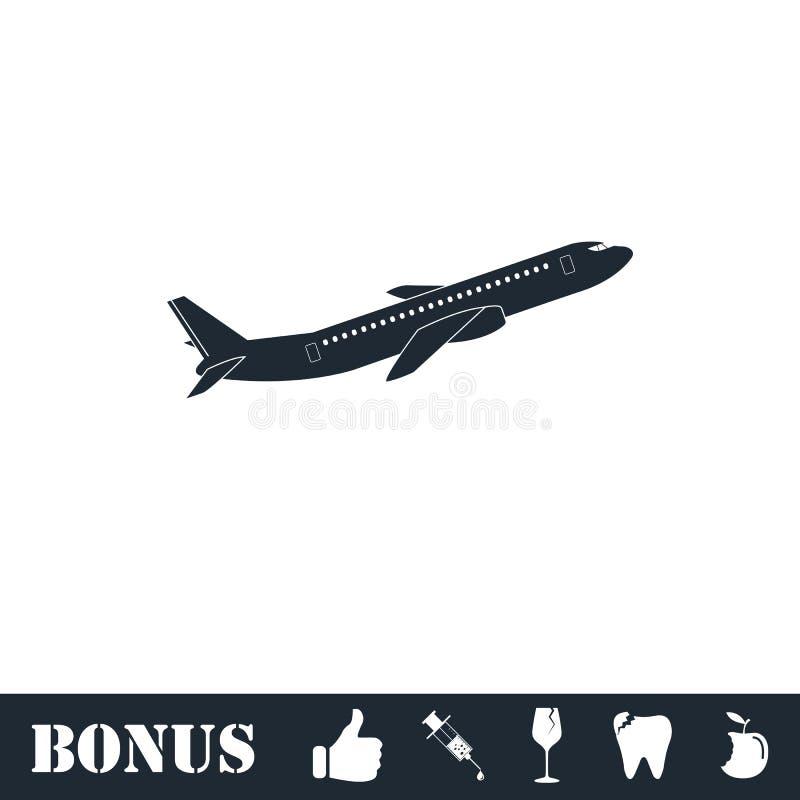 Vlak vliegtuigpictogram stock illustratie
