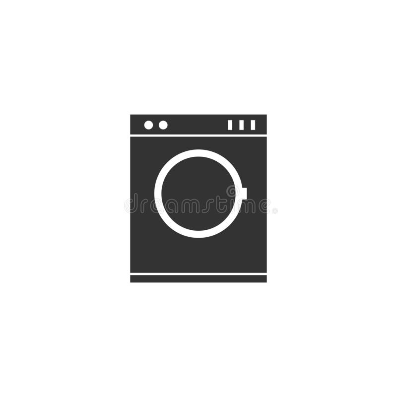 Vlak wasmachinepictogram stock illustratie