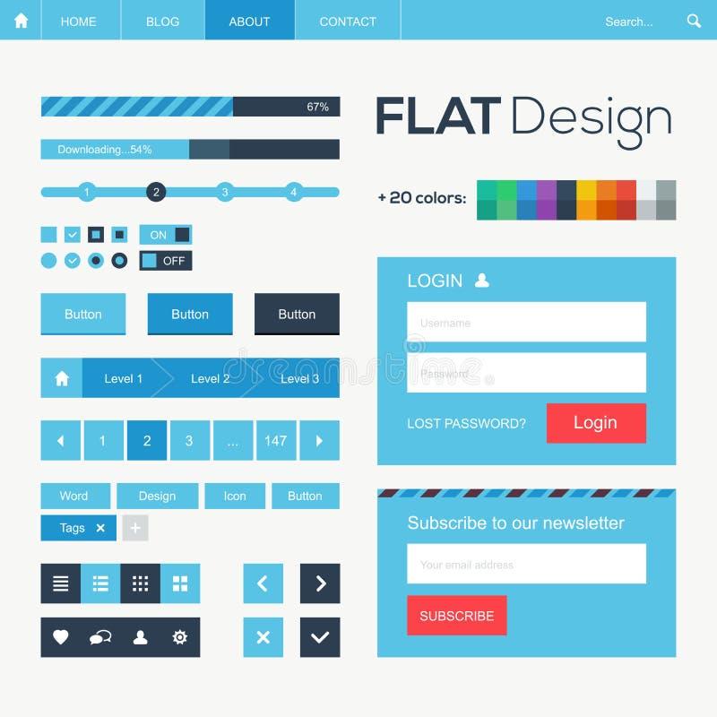 Vlak Web en mobiele ontwerpelementen vector illustratie