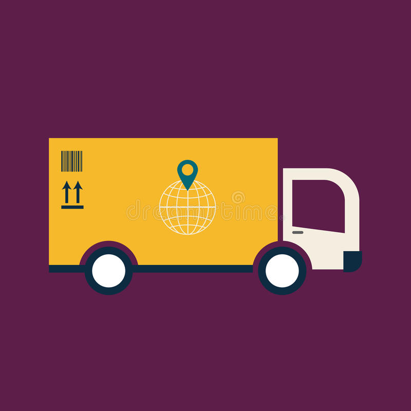 Vlak Webpictogram van vrachtwagen stock illustratie