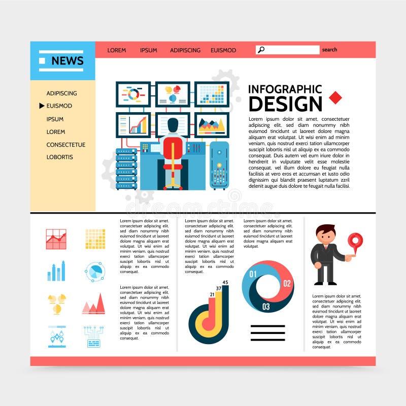 Vlak Websitemalplaatje de Bedrijfs van Infographic vector illustratie