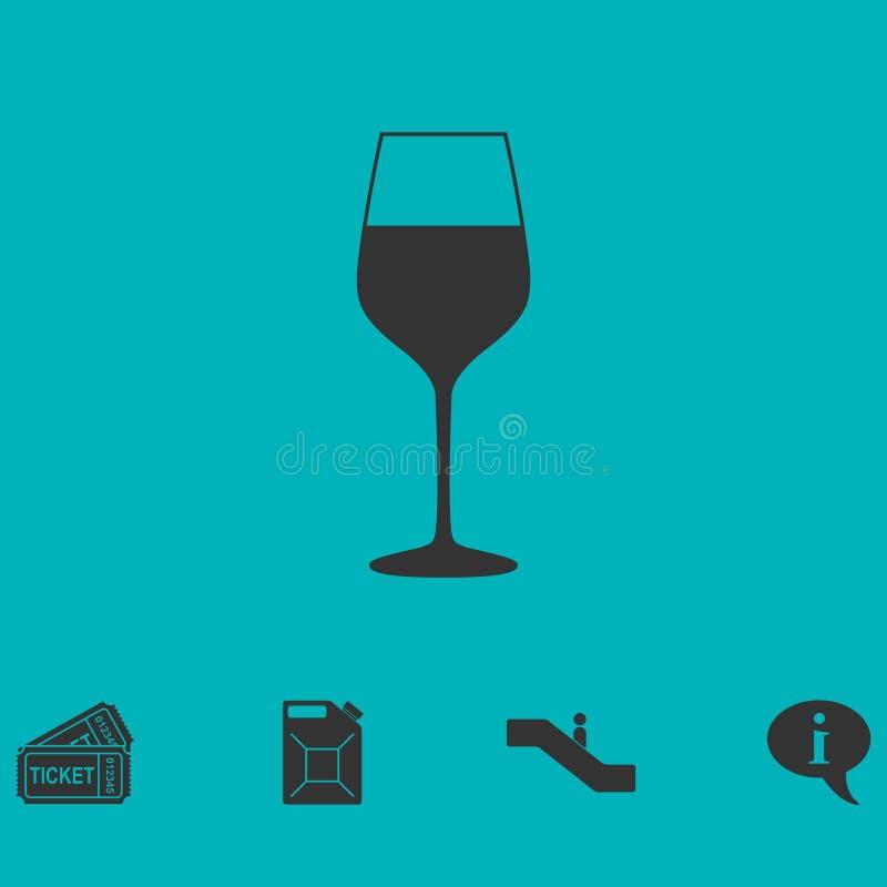 Vlak wijnglaspictogram stock illustratie