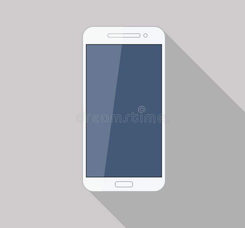 Vlak witte mobiele telefoon moderne modieuze lange schaduw vector illustratie