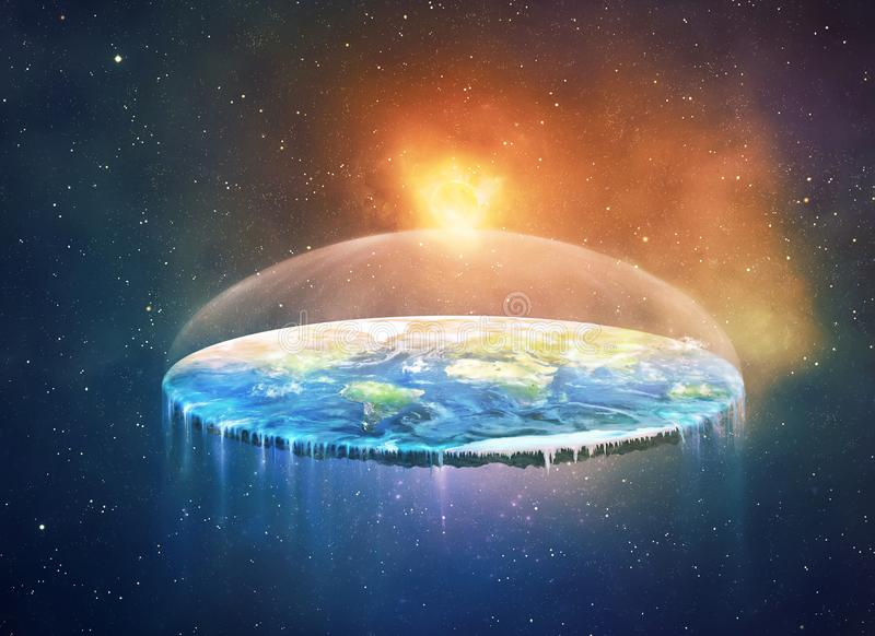 Vlakke aarde in ruimte royalty-vrije illustratie