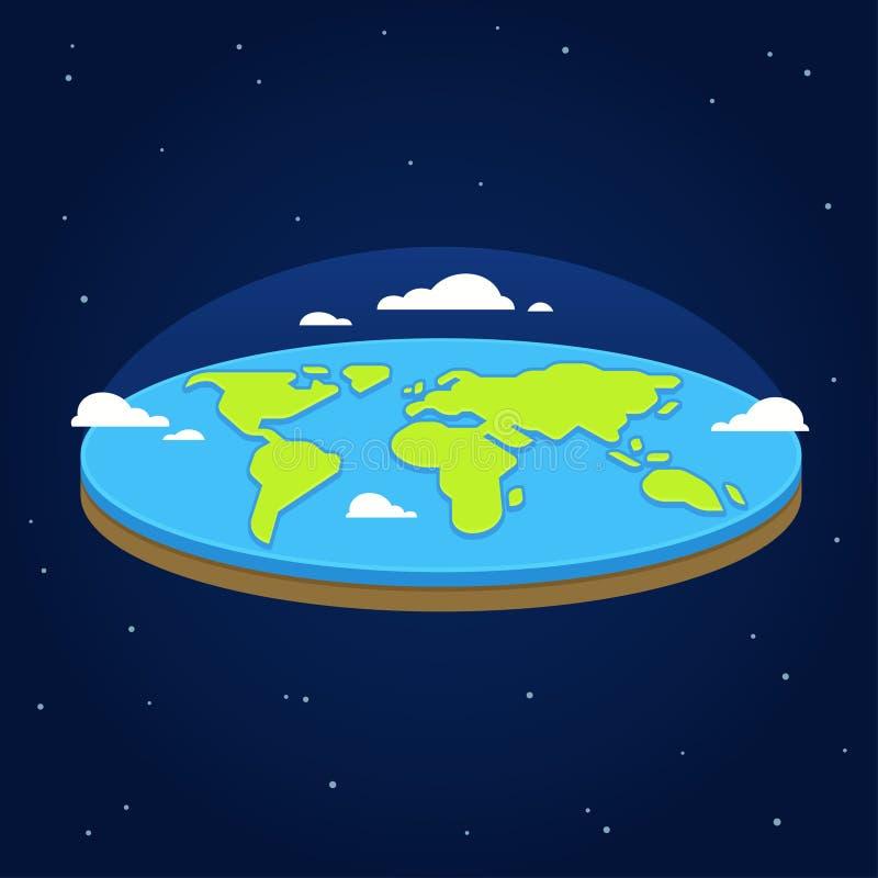 Vlakke aarde in ruimte vector illustratie