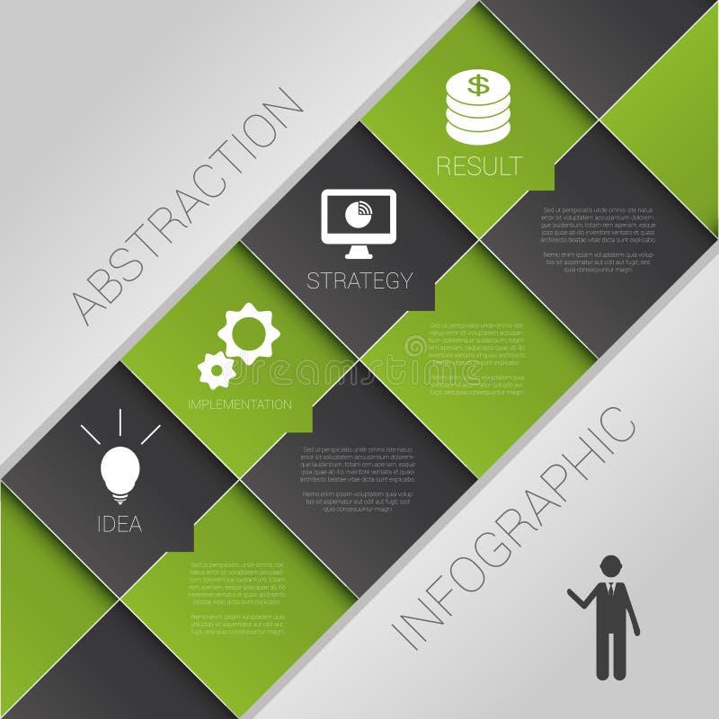 Vlakke abstracte infographics donkergroene bedrijfsvector met pictogrammen vector illustratie