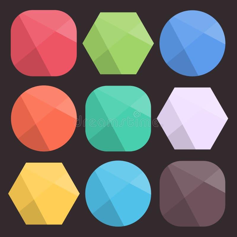 Vlakke Achtergrond Gefacetteerde Vormen voor Pictogrammen Eenvoudige kleurrijke diamantcijfers voor Webontwerp Modern in ontwerp vector illustratie