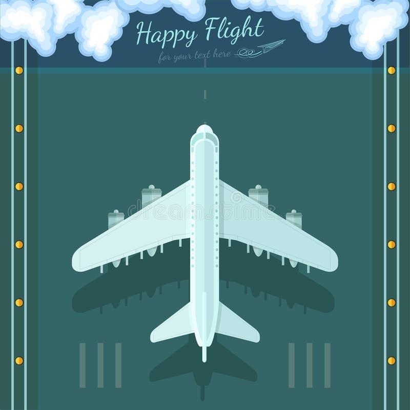 Vlakke achtergrondvliegtuig hoogste mening stock illustratie