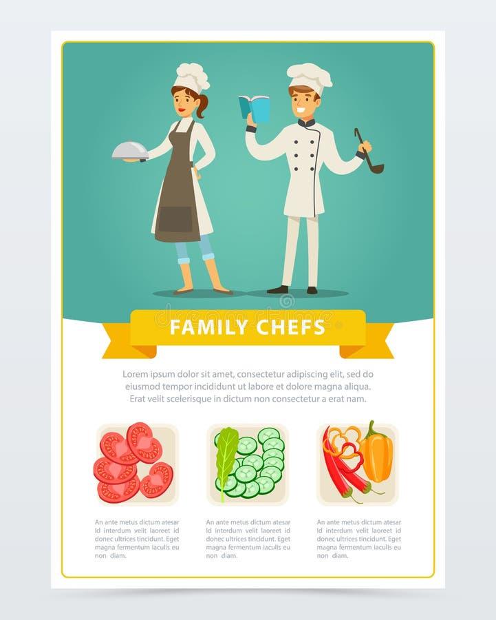Vlakke affiche met familiechef-koks van vegetarische keuken vector illustratie
