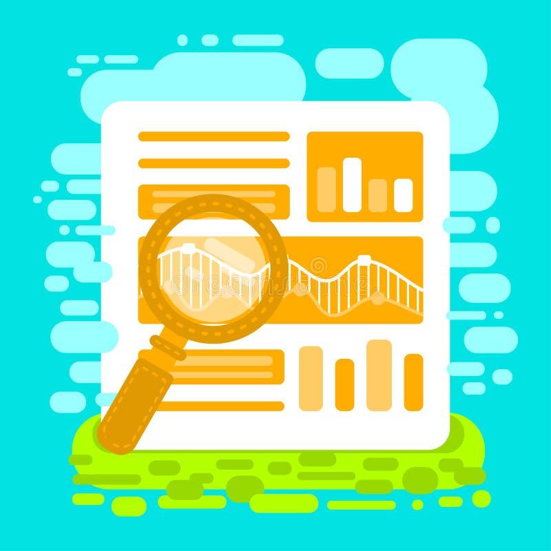 Vlakke analytics en de Informatie van het illustratieweb Digitale marketing SEO optimalisering vector illustratie