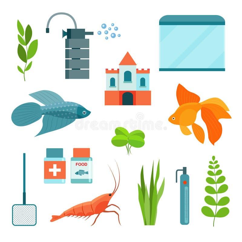 Vlakke aquariumreeks Aquariummateriaal, aquariumvissen, garnalen en kasteel Vector illustratie royalty-vrije illustratie