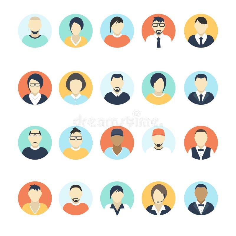 Vlakke avatar pictogrammen Bedrijfsconcept, globale mededeling Het profiel van de websitegebruiker Sociale media, netwerkelemente stock illustratie