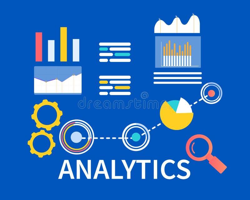 Vlakke Banner Analytics op Blauwe Achtergrond Vector stock illustratie