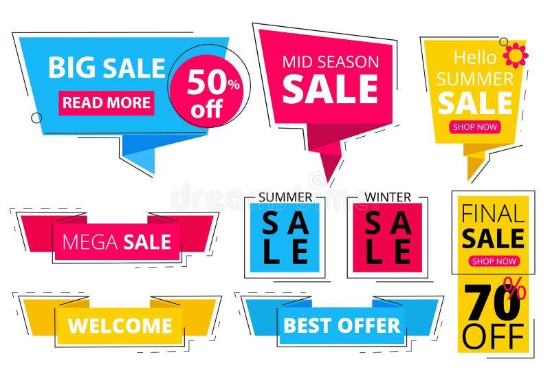 In vlakke banners Biedt van de markeringenpromo van de reclamekorting de etikettenstickers aan de grafische vector vormen kleurde stock illustratie