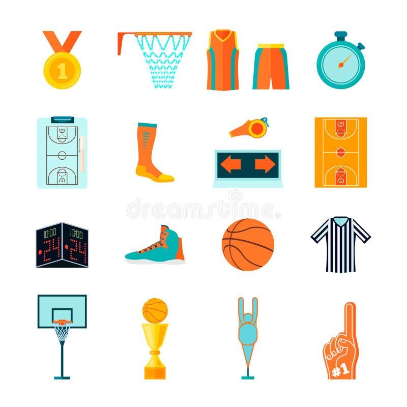 Vlakke basketbalpictogrammen, bal, hof, hoepel, ventilator en scheidsrechtersmateriaal, kleding en apparaten stock illustratie