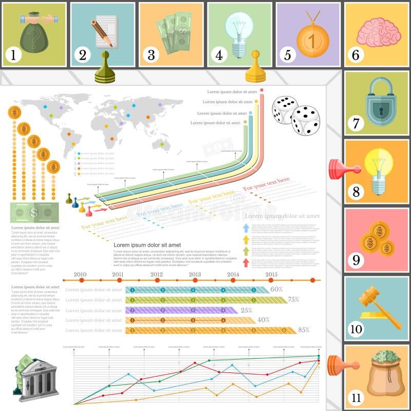 Vlakke bedrijfs infographic hoogste mening als achtergrond met finanial raadsspel vector illustratie